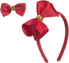 Gold Sequin Bow headband and Hair Alligator Clips for Girls, Comfortable No Hurt Grosgrain Ribbon Headpiece Hair Hoop for Halloween Christmas Party Cosplay Costume Daily Decor Accessories(Red)