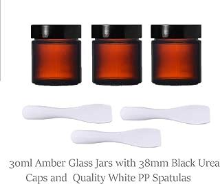 Pack de 3 tarros de cristal de 30 ml y 3 espátulas de polipropileno, ideales para aromaterapia, cremas, geles, sérums, cera, ungüentos, primeros auxilios, etc.