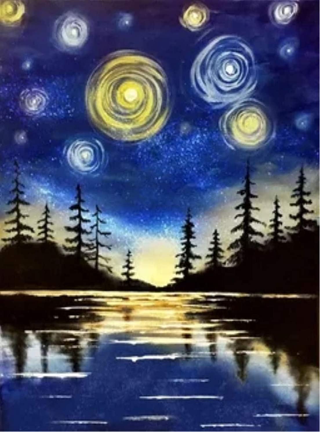 New 5D Diamond Painting Kits for Adults Kids, Awesocrafts Starry Sky Forest River Full Drill DIY Diamond Art Embroidery Paint by Numbers with Diamonds (Starry Sky1)