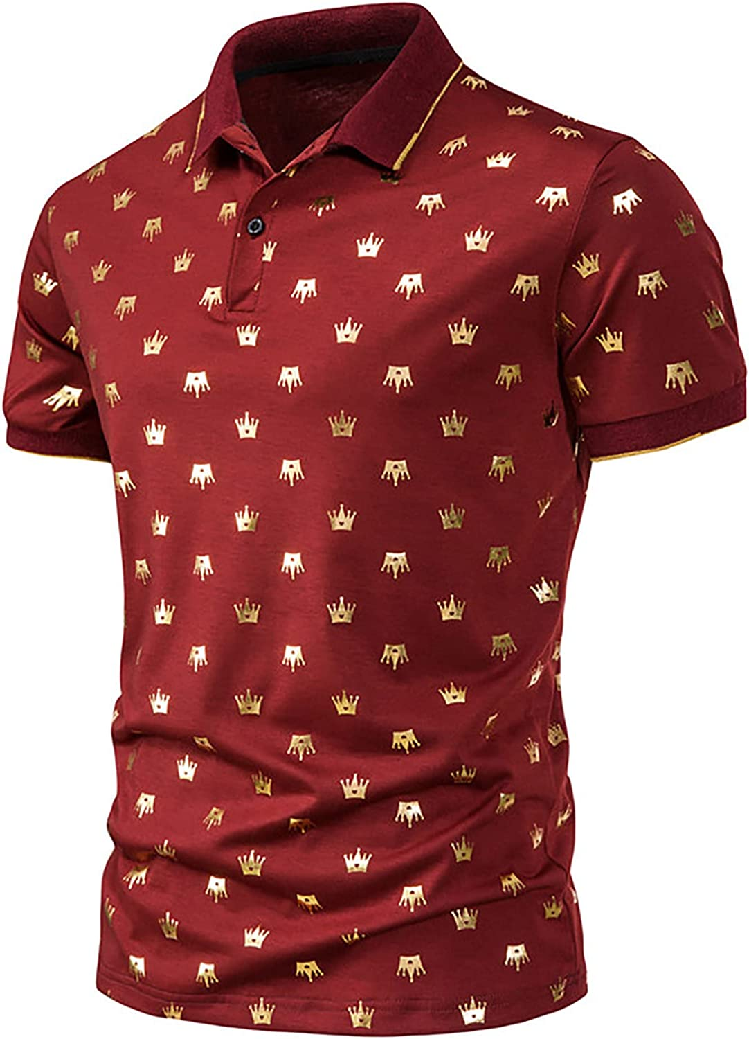 Men's Summer Shirts Casual Turn Down Collar Cotton T-Shirts Fashion Golden Crown Printed Tops Blouse