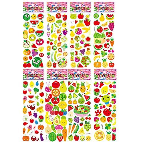 8pcs Vegetable Stickers Toy Fresh Fruit Pegatinas Cartoon Plant Graffiti For Children On Scrapbook Diary Book Suitcase Guitar