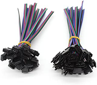 RGBZONE 20Pairs JST SM 4PIN Plug Male to Female EL Wire Cable Connector Adapter for 5050 3528 RGB LED Strip Light