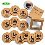 Gifts for Dad Father Men Mom, 12 Pcs Chinese Zodiac Drink Coaster Set - Cork Coasters+Holder+Bottle Opener|Fun Absorbent Bar Coasters for Party Home Office