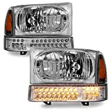 ACANII - For 1999-2004 Ford F250 F350 00-04 Excursion Headlights w/LED Parking Signal Lamps Driver + Passenger Side