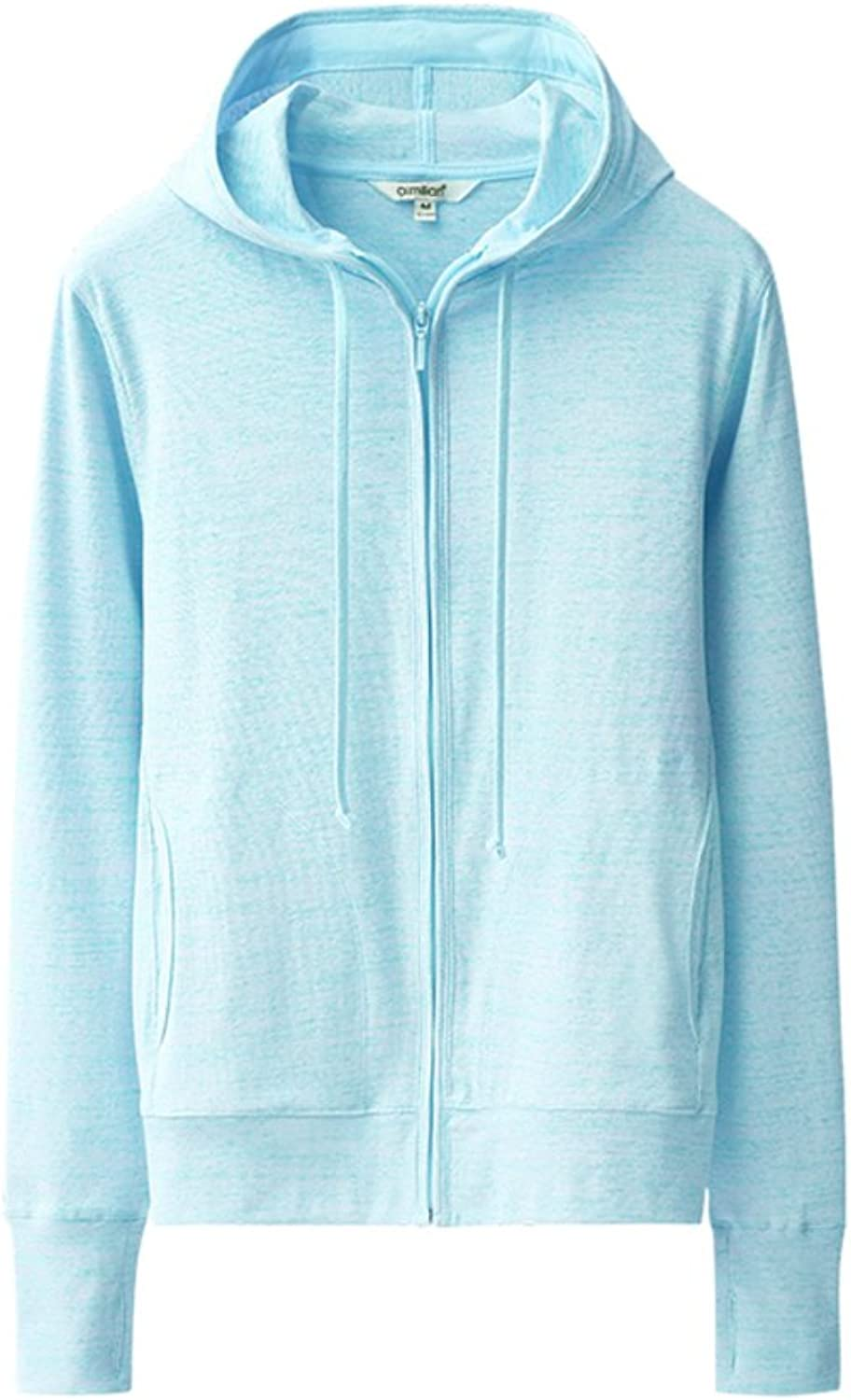 Women's cardigan,zip leisure hooded long sleeve sweaters(assorted colors)bluee XL