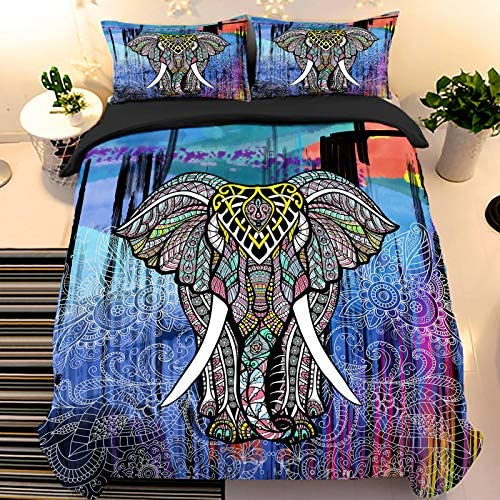 Elephant Duvet Cover Set Queen Size Indian Blue Comforter Cover Set Animal Microfiber 3D Bedding product image