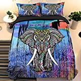 Elephant Duvet Cover Set Queen Size Indian Blue Comforter Cover Set Animal Microfiber 3D Bedding Set with 2 Pillow Cases Mandala 3 Pieces Quilt Cover Set for Kids Teens Adults All Season