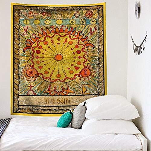 N / A Great Tarot Tapiz de Pared La Luna Parece Convertirse en un Tapiz Estrellas Decoración de Dormitorio Funda de Cama Funda de edredón Paño de Fondo de Pared de Sol A6 130x150cm