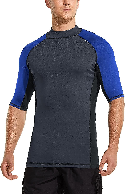 TSLA Men's Rash Guard Swim Shirts, UPF 50+ Quick Dry Mid/Short Sleeve Swimming Shirt, UV/SPF Water Surf Shirts: Clothing
