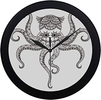 THKDSC Modern Simple Drawing Octopus Zentangle Design Coloring Book Wall Clock Indoor Non-Ticking Silent