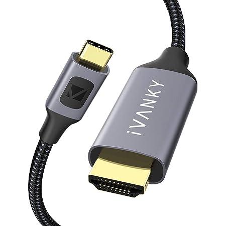 iVANKY USB Type C HDMI 変換ケーブル【2m・4K/60Hz・金メッキプラグ】Type C HDMI Macbook Pro/Macbook Air/iPad Pro/Chromebook/Pixel/XPS/Galaxy 対応 灰色