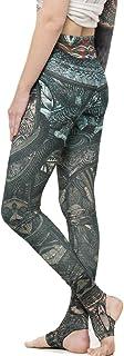 High Waisted Leggings - Tribal Print Yoga Pants with Stirrups - Street Wear