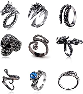 BYONDEVER Vintage Punk Silver Black Chinese Dragon Snake Dragon Claw Skull Rings Jewelry Gothic Alloy Open Adjustable