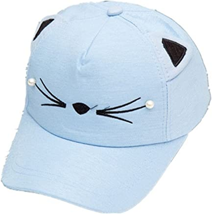 WENDYWU Baby Cartoon Baseball Cap Adjustable Strap Cat Ears Cap Sun Hat (Blue)