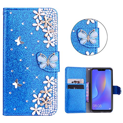 Carcasa funda Case Huawei Nova 3i/Huawei P S mart Plus Azul Bling Glitter Sparkle 3D Diseño Botones Protector Funda PU Leather Funda de Protección Interior para Huawei Nova 3i/Huawei P S mart Plus