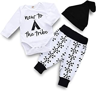 Infant Baby Boys Girls New to The Tribe Romper Diamond Pants Hat Clothes Set Outfit
