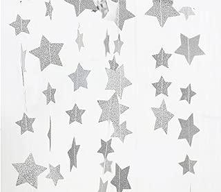 FECEDY Sparkling Star Garland Bunting for Birthday Wedding Engagement Bridal Shower Baby Shower Bachelorette Holiday Celebration Party Decorations 13 feet (Silver)