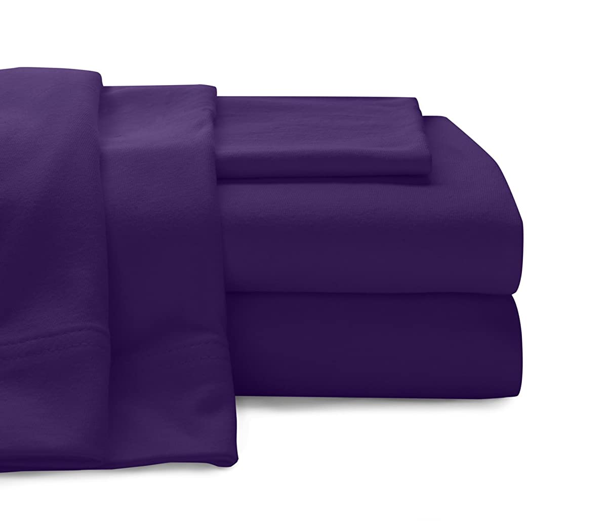 Baltic Linen Jersey Cotton Sheet Set Twin Purple 3-Piece Set