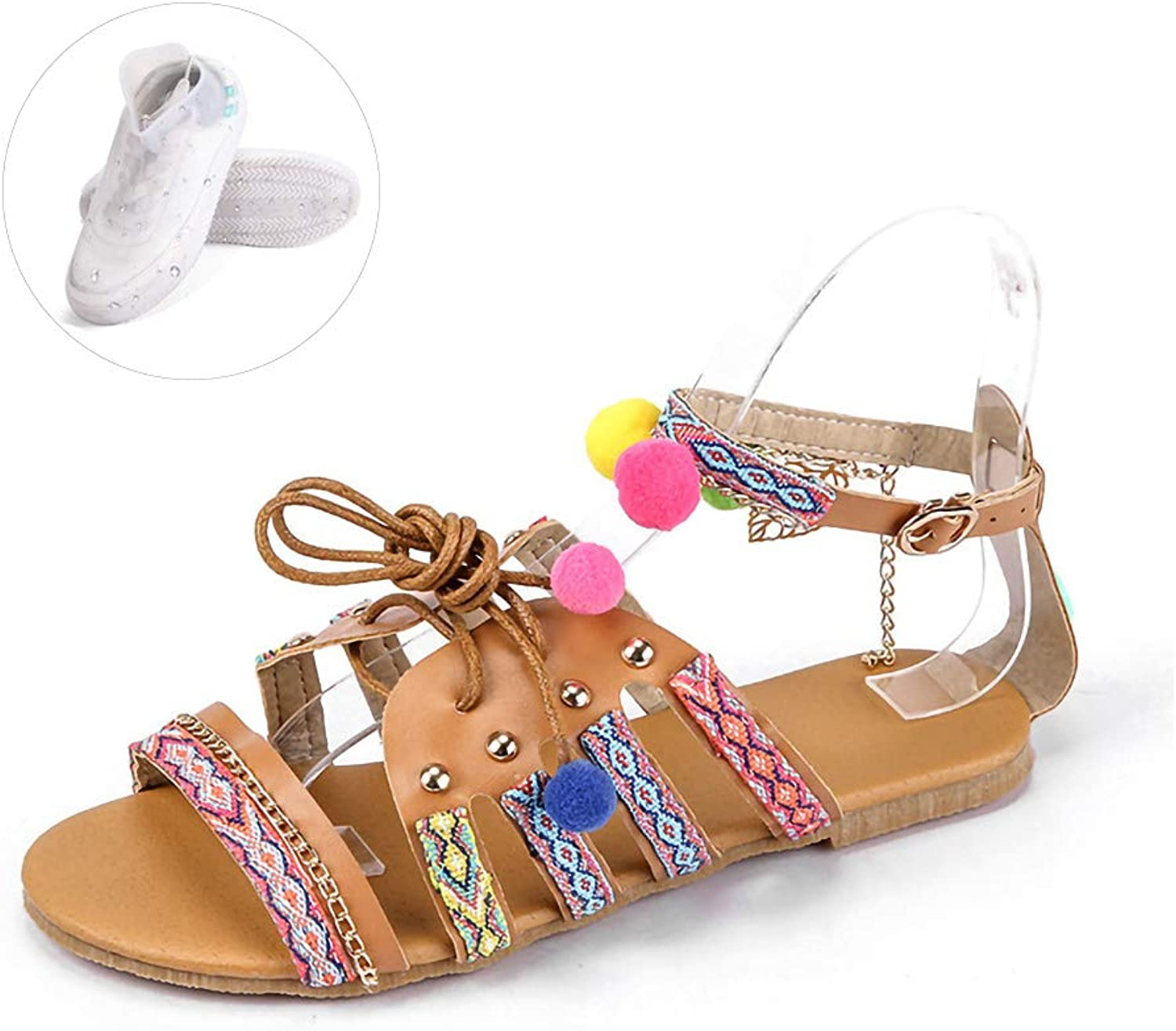 Ethnic Bohemian Summer Women Sandals, Gladiator Roman Strappy Embroidered shoes Woman Flat shoes Plus Size 35-43, with shoes Cover,Brown,7.5US