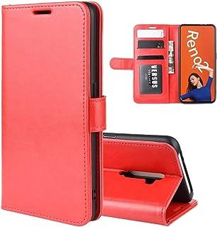 ハードケース OPPO RENO2 R64テクスチャシングルためのホルダー&カードスロット&財布に対して水平フリップレザーケースを折ります (色 : Red)