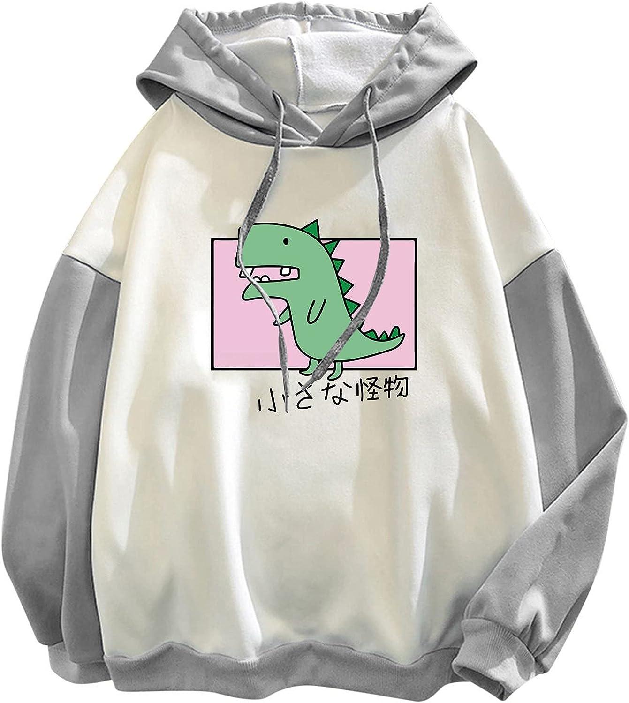 Casual Women Hooded Pullover Patchwork Long Sleeve Sweatshirts Cute Dinosaur Printed Tshirt Tops