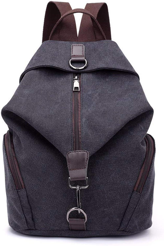 Men's Fashion Backpack Lady Canvas Shoulder Bag Large Capacity Leisure Travel Backpack (color   Black, Size   M)