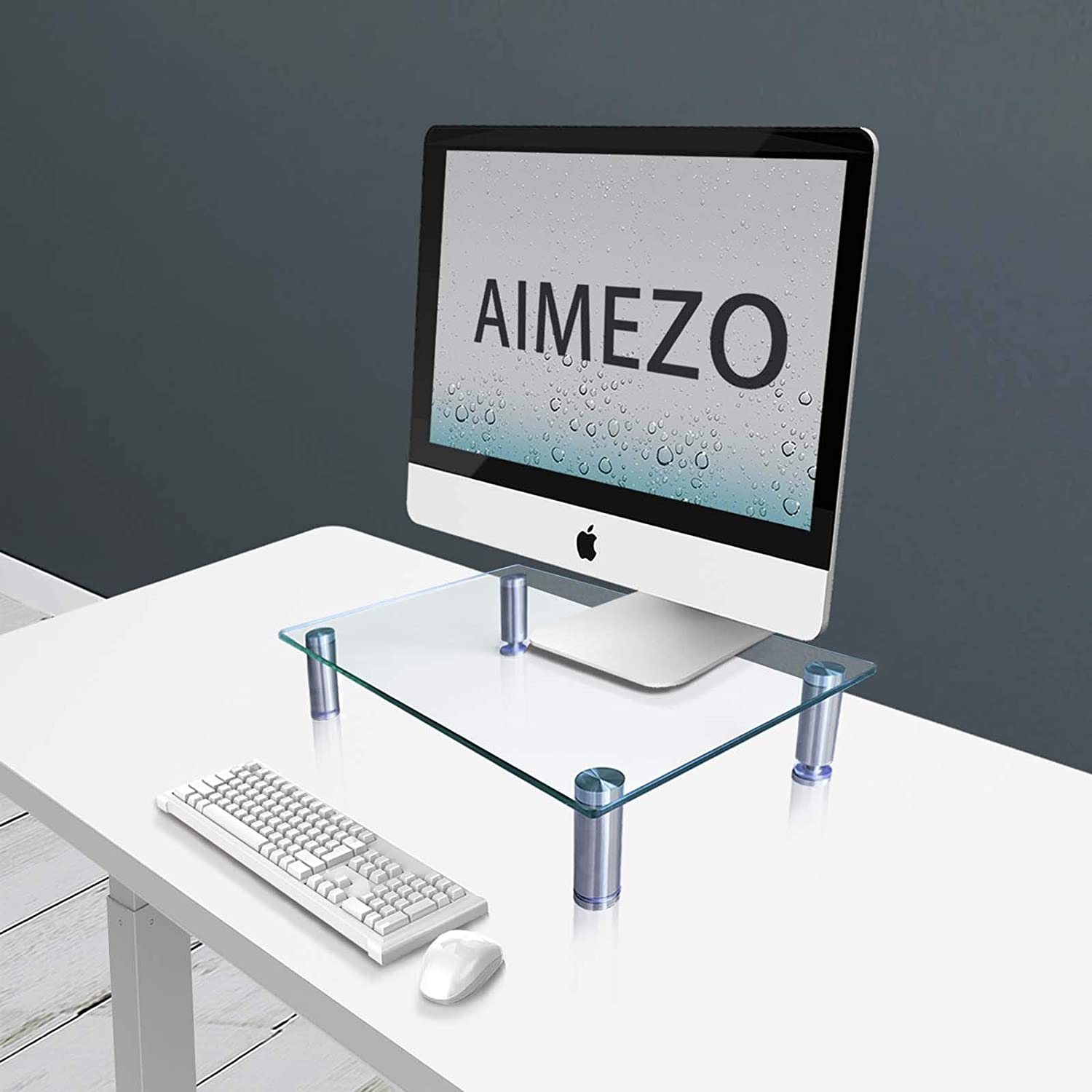 AIMEZO Clear Tempered Glass Computer Monitor Stand with Height Adjustable, Desktop Risers for Computer Monitors, Laptop, Printer, Notebook,Xbox One,Space for Storage Underneath