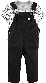 Carter's 2-Piece Word Tee & Overalls Set for Baby Boy Size Newborn Black