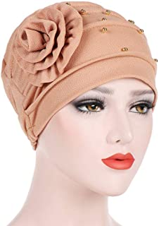 aliveGOT Womens Floral Ruffle Chemo Turban Headband Scarf Beanie Cap Hat for Cancer Patient