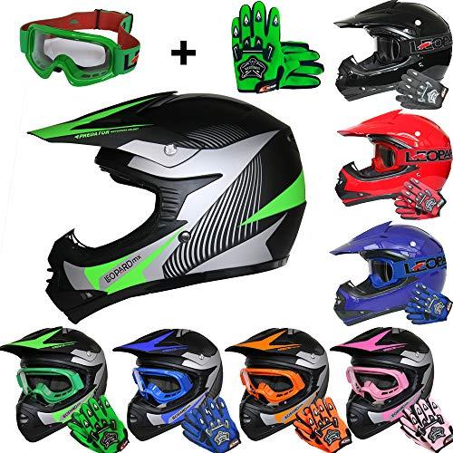 Leopard LEO-X19 *ECE 2205 Genehmigt* Kinder Motocross MX Helm Motorradhelm Crosshelm Kinderquad Off Road Enduro Sport + Handschuhe + Brille - #05 Grün S (49-50cm)