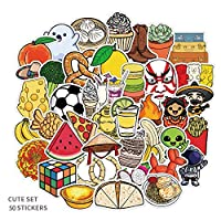 50枚/パックの韓国insかわいいスマイリーフェイスステッカー水カップヘルメットノート漫画漫画食品スナックステッカー