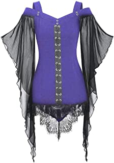 Halloween Witch Top Women Gothic Criss Cross Lace Insert Butterfly Sleeve T-Shirt