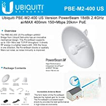 PowerBeam M2 PBE-M2-400 2.4GHz Airmax Bridge Reflector Dish Antenna Radio with PoE
