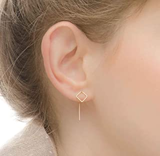 Square Earrings Threader Pull Through Double Sided Ear Jacket Goldfilled
