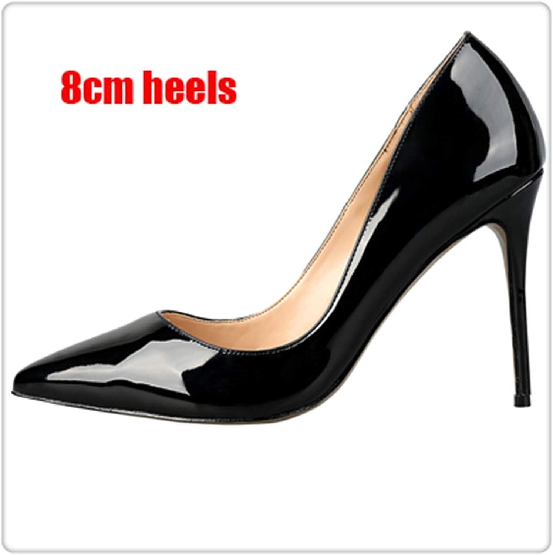 90 colors Different High Heels Women Pumps Classical Woman Dress shoes Party shoes Extra Size 34-45 Black Patent 8cm 9.5