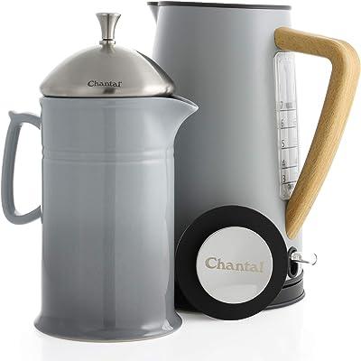 Chantal Oslo Craft Coffee Set, Electric Water Kettle and 28oz French Press, Fog Grey, 2 piece oslo ekettle set