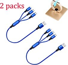 EEkiiqi 2 Packs Short 3 in 1 USB Charging Cable 1ft Multi Charger Cord Nylon Braided Fast Charging Cord Type C/Micro USB/L...