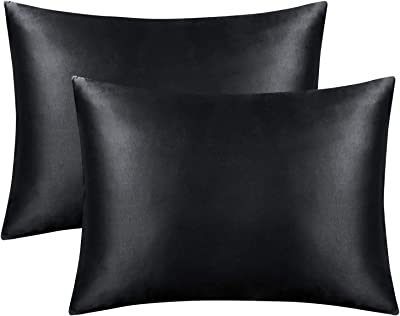 FLXXIE 2 Pack Zippered Satin Standard Pillowcases, Silky Soft and Luxury (Black, Standard)