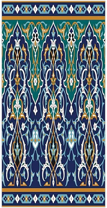 3D Decorative Film Privacy Window Film No Glue Moroccan Ethnic Oriental Figure Petals Hippie Vintage Tribal Mosaic Design Blue Mustard For Home Office