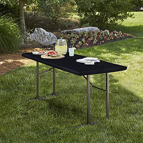 LUSHVIDA Elastic Stretch Picnic Table Cover Waterproof Elastic Vinyl Fitted Flannel Backing Tablecloth for 30' 72' for Picnic/Travel/Holiday/Party/Folding Table Black