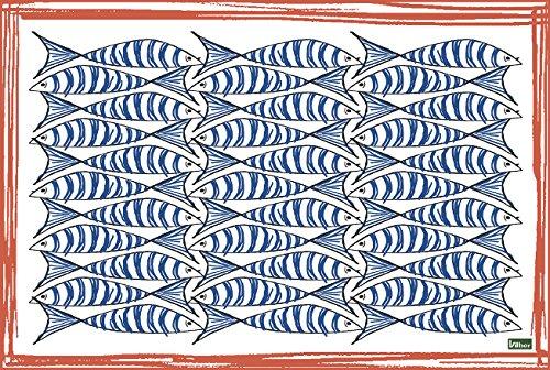 Vilber A050 V01 NIZA.2495 DU 03 tafelkleed voor voederapp, 45,6 x 30,5 x 0,2 cm, blauw/rood