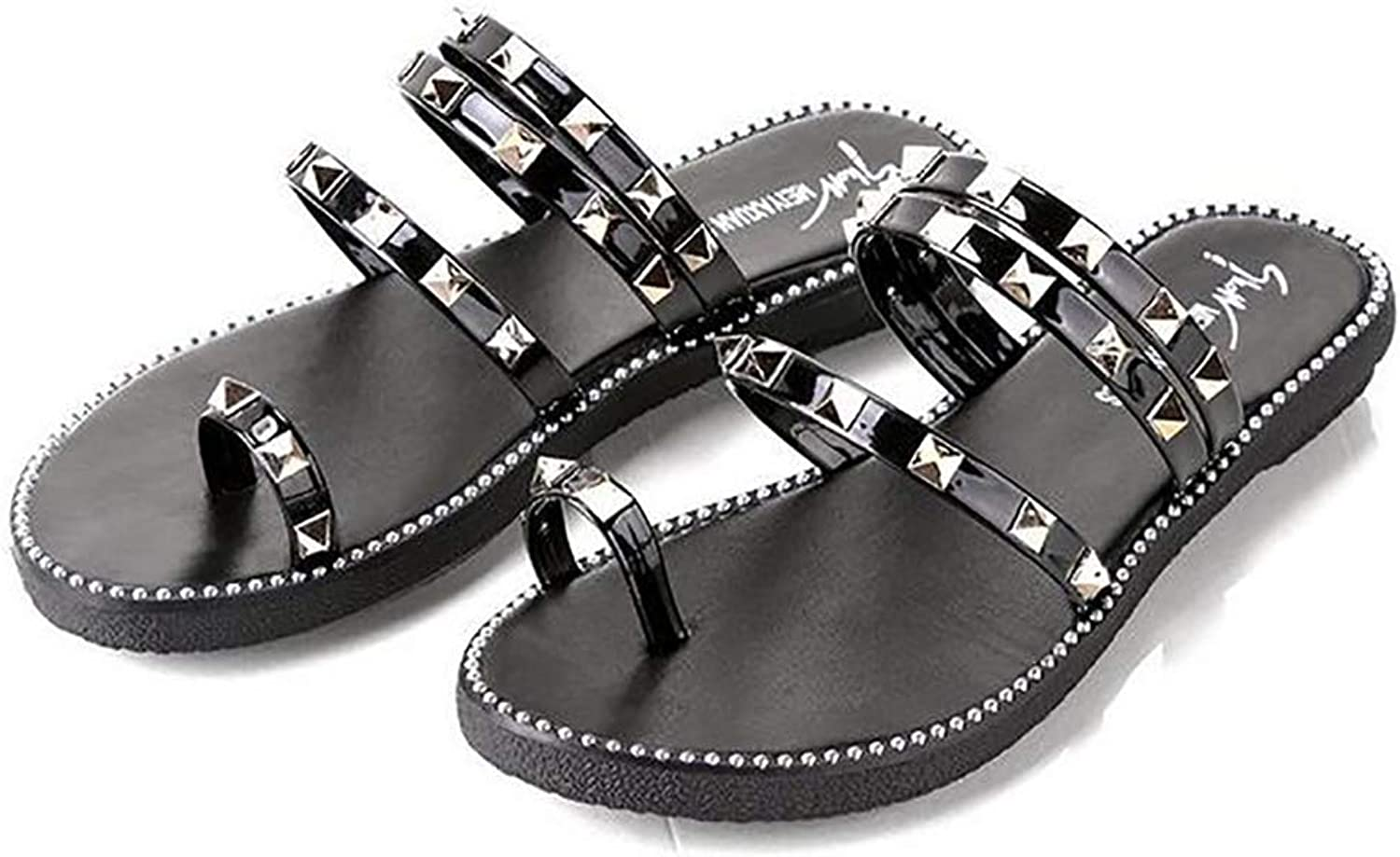 Woman's Fashion wear Sandals Rivet Peep-Toe Flip Flops