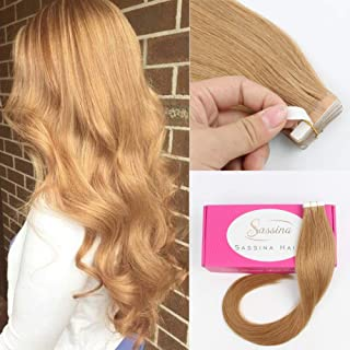 Sassina 8A Grade Reusable,Invisible,Seamless Skin Weft Human Extensions Double Side Tape in Extension Strawberry Blonde 20Pcs 50g per set (27 18inch)