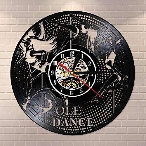 wtnhz LED Reloj de Pared de Vinilo Colorido Pole Dance Disco de Vinilo Reloj de Pared Antiguo Club Nocturno Colgante de Pared Art Deco Pole Dance Reloj de Pared Hecho a Mano Regalo de Bailarina