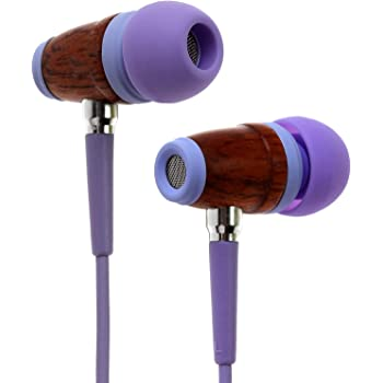 Symphonized Kids 85dB Volume Limited Premium Wood in-Ear Noise-isolating Headphones, Earbuds, Earphones with Mic (LaLa Lavender)