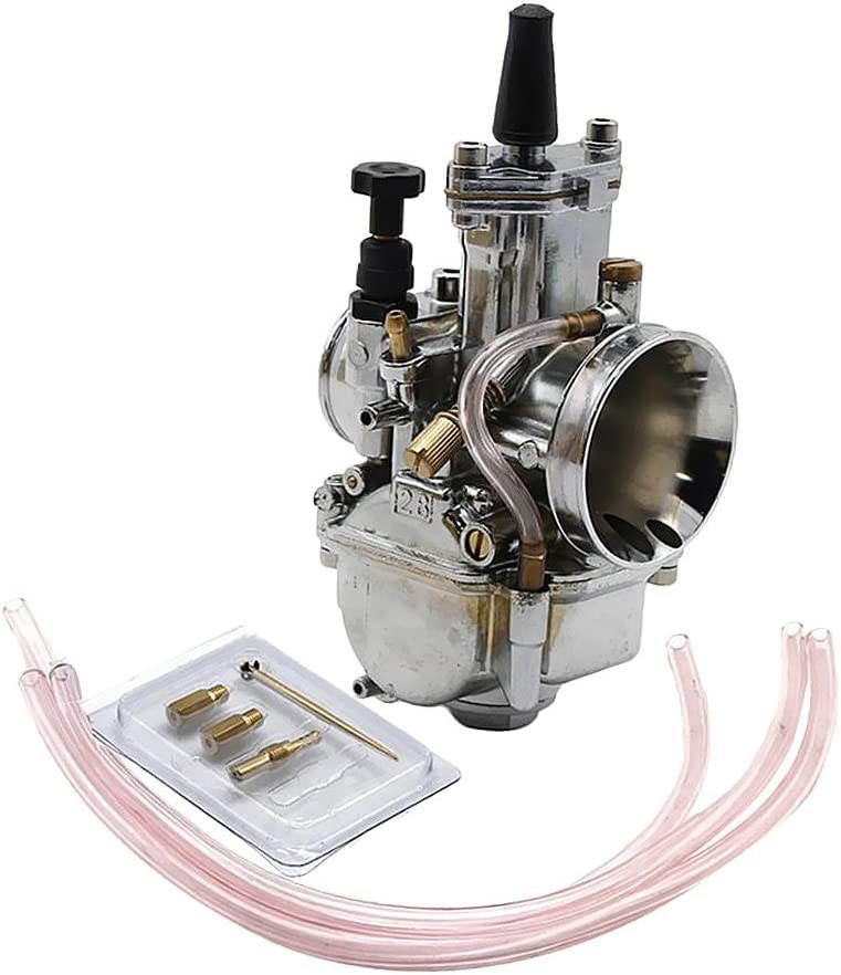 Silver 28mm Carburetor for Keihin Koso OKO PWK 28mm Carb With Power Jet Fit Race Scooter 28mm