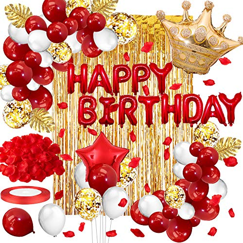Daypicker Birthday Decoration Gold Red Set, Happy Birthday Garland Balloons White Gold Confetti Latex Balloons Gold Curtain for Girls Boys Baby Shower Wedding Birthday Graduation Bachelorette