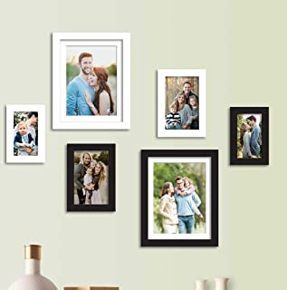 Art Street Set of 6 Black & White Wall Photo Frame, Picture Frame for Home Decor with Free Hanging Accessories (Size - 4x6, 5x7, 8x10 Inchs)
