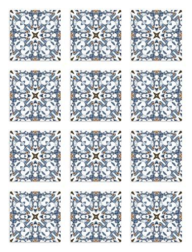Panorama Azulejos Adhesivos Cocina Baño Pack de 48 Baldosas de 15x15 cm Azulejo Hidráulico Tipo Oriental Azul - Vinilos Cocina Azulejos - Revestimiento de Paredes - Cenefas Azulejos Adhesivas