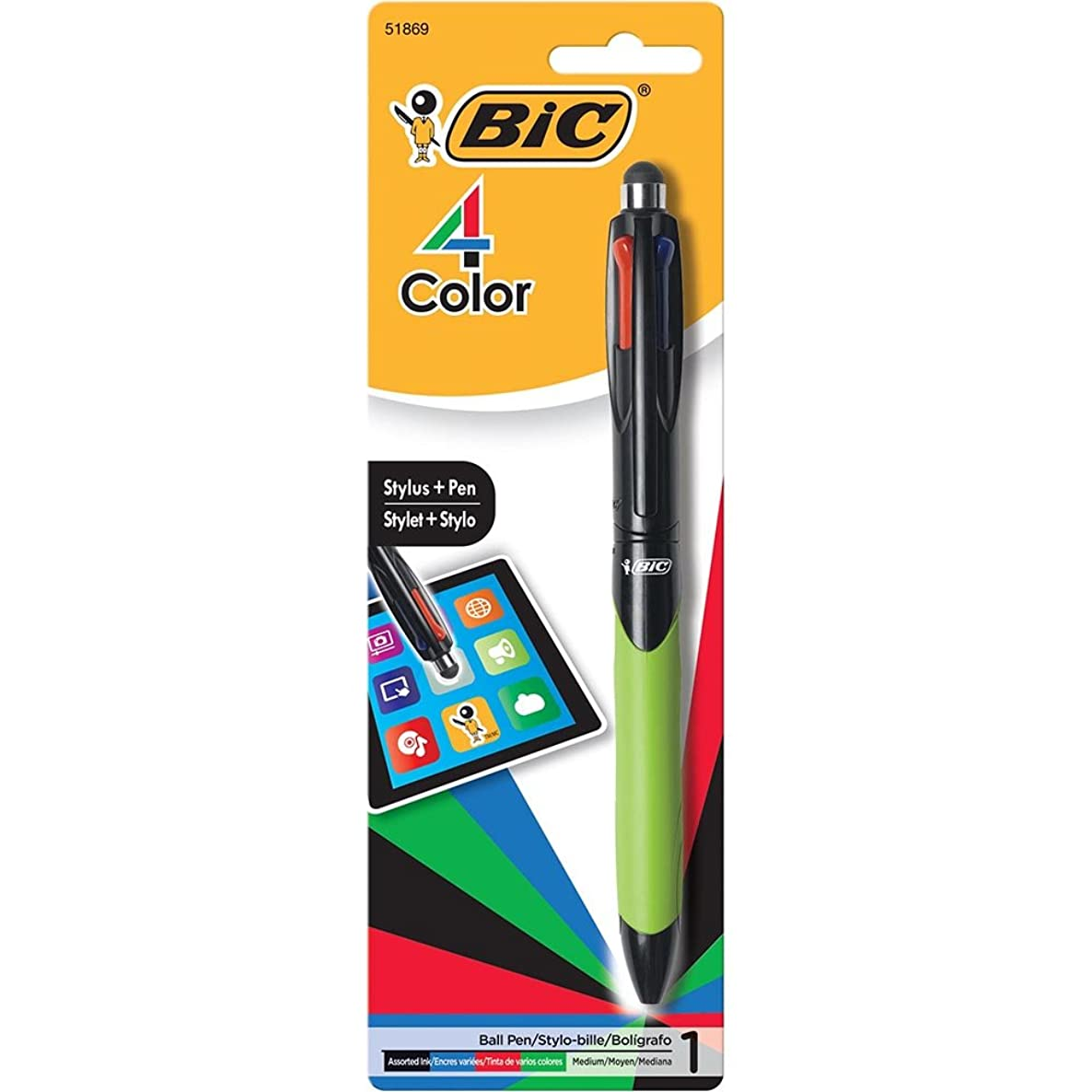 BIC 4-Color Grip Ballpoint Pen with Stylus, Medium Point (1.0mm), Assorted Inks, 1-Count